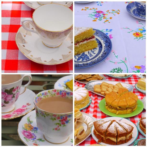 Mosaic teacups,cakes