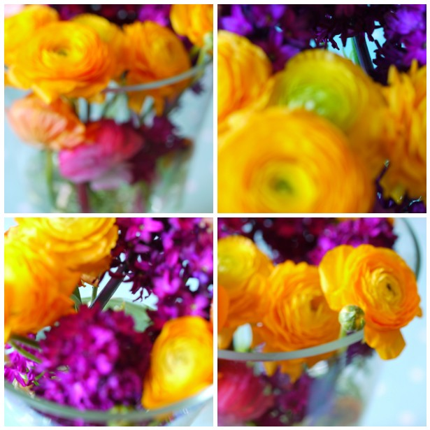 Mosaic bright flowers close