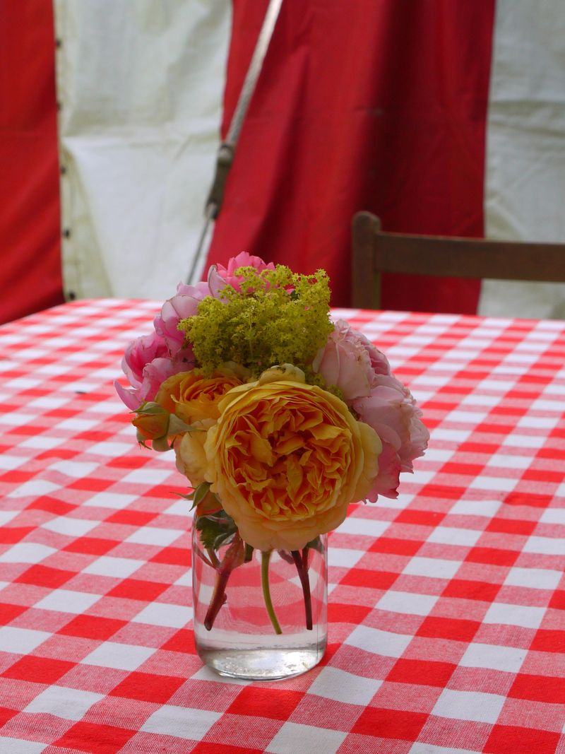 Flowers-on-check-cloth,-ful
