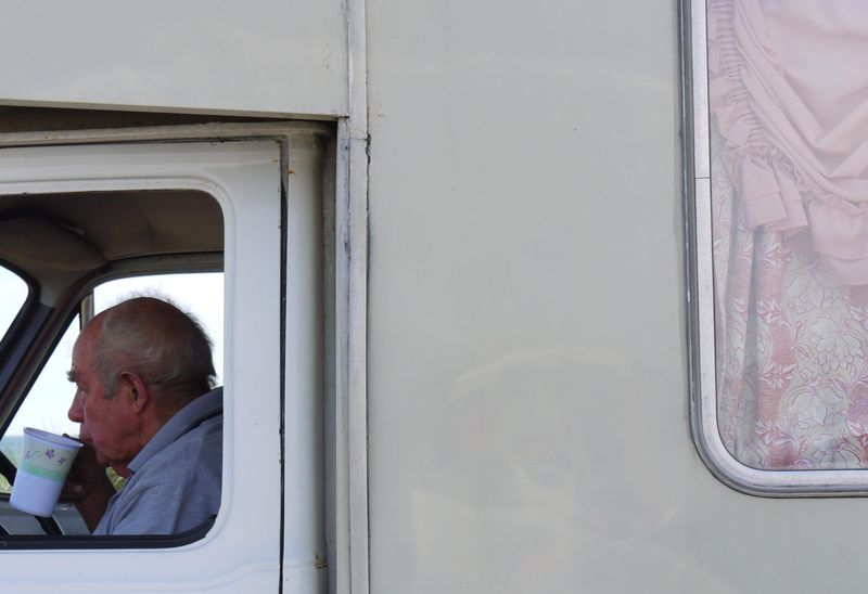 Camper-van-man,-curtains