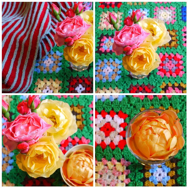 Mosaic roses and crochet