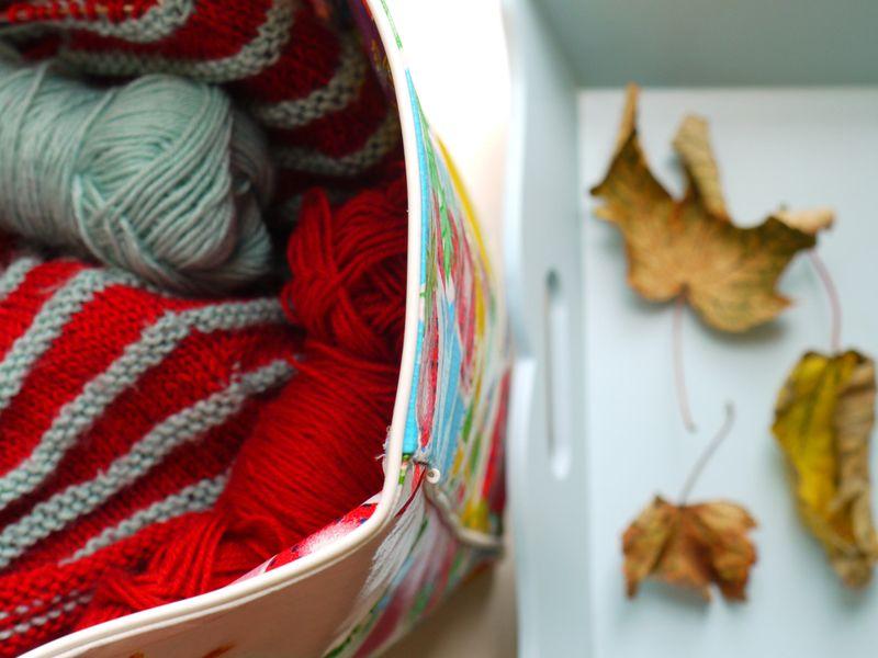 Bag,-knitting,-leaves