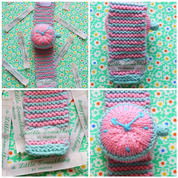 Mosaic knit watch, hen