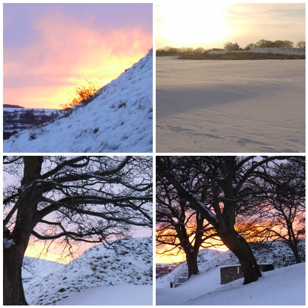 Mosaic snow sunset