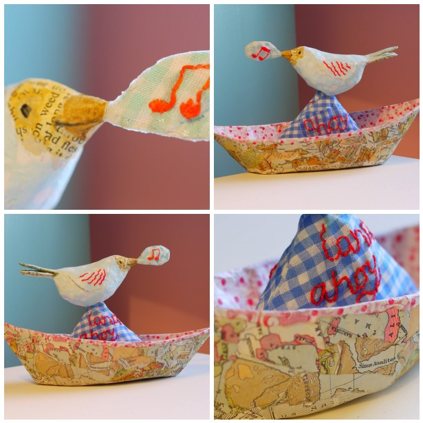 Mosaic bird on boat