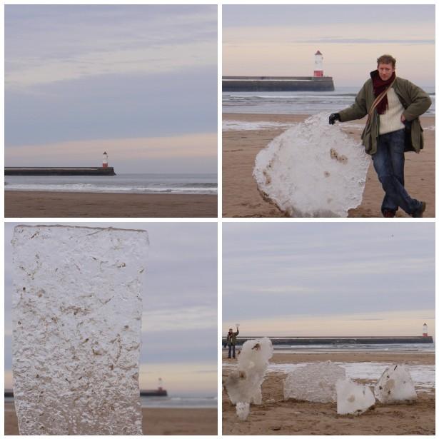 Mosaic ice slabs, beach