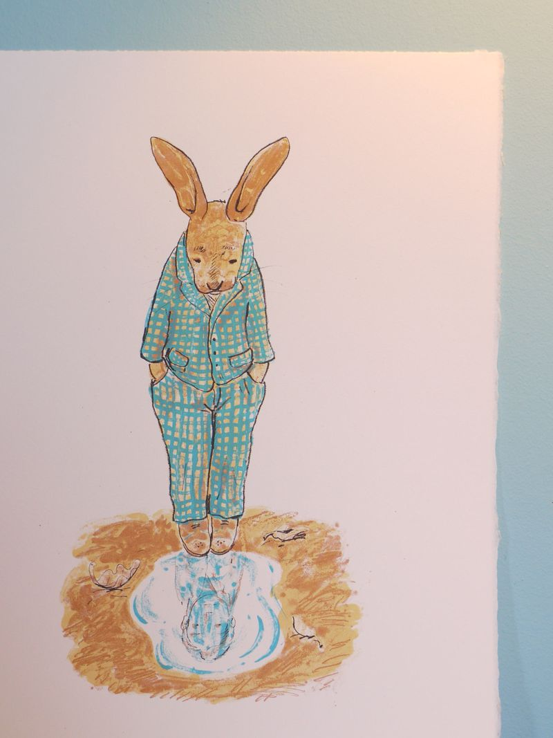 Hare-print-blue-border